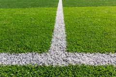 White line on the soccer field Stock Photo
