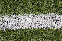 White line on a soccer/football field Royalty Free Stock Image