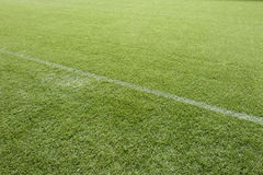 White line on soccer pitch Royalty Free Stock Photo