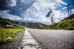 White line on tarmac highway Royalty Free Stock Images