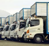 White line varied cars. Ready for heavy work, are these delivery trucks of various references and brands Stock Photography