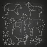 White line vector polygonal wild animals, fish and bird on blackboard. Linear dog and bear, elephant and giraffe illustration Stock Photography
