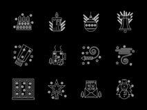 White line X-mas icons set Stock Images