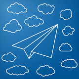 White linear paper airplane with clouds on blue background Royalty Free Stock Photo