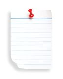 White Lined Paper And Push Nail(with Clipping Path) Stock Photography