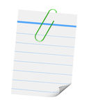 White lined paper with clip vector illustration