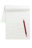 White lined paper and pencil Royalty Free Stock Photos