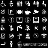 White lined pattern Airport icons Stock Photo