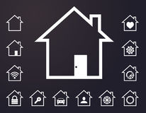 White lined smart home icons Royalty Free Stock Photography
