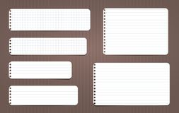 White lined and squared note, notebook paper stuck on brown lined backgroud. Vector illustration. Royalty Free Illustration