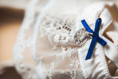 A white linen garter Royalty Free Stock Images
