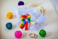 A white linen garter Royalty Free Stock Image