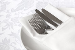 White Linen Place Setting Stock Images