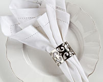 White linen table place setting. With silver serviette ring Stock Image