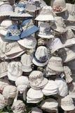 White linen white hats for sale. Stock Photos