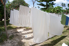 White linens. Hanging out to dry in the sun Royalty Free Stock Photos