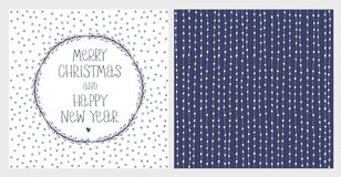Cute Hand Drawn Christmas and New Years Eve Vector Card and Pattern. White Lines and Dots on a Dark Blue Background. Handwritten Merry Christmas and Happy New stock illustration