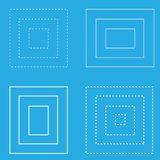 White square blue background geometric shapes lines vector illustration