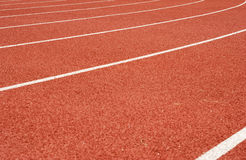 White lines on tartan. At athletic stadium Stock Images