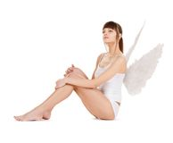 White lingerie angel girl Royalty Free Stock Photo