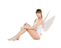 White lingerie angel girl Stock Photos