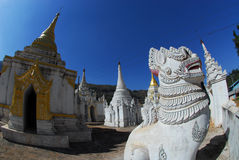 White Lion guardians in temple , Myanmar. Royalty Free Stock Image
