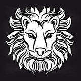 White lion head on blackboard. Black and white lion head design on blackboard. Vector illustration Royalty Free Stock Photography