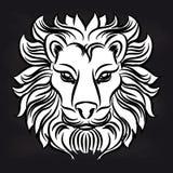 White lion head on blackboard Royalty Free Stock Photography