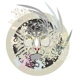 White lion head in a circle. Tribal white lion head in a circle ready for a tattoo, graphics on the vehicle, also for labels, stickers and emblems, T-shirt Royalty Free Stock Image