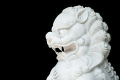 White lion head statue isolated Royalty Free Stock Images