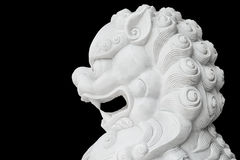 White lion head statue isolated Stock Images
