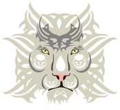 White lion head. Tribal white lion head ready for a tattoo, graphics on the vehicle, also for labels, stickers and emblems, T-shirt designs Royalty Free Stock Photography
