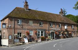 The White Lion Inn at Wherwell. Hampshire. England. The White Lion Inn at the village of Wherwell in Hampshire. England stock photography