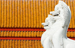 White lion statue , Buddha temple decoration Royalty Free Stock Photography