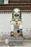 White lion statue in a temple.China. Royalty Free Stock Photography