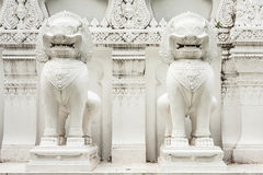 White Lions Sculpture. Bangkok Thailand Royalty Free Stock Photos