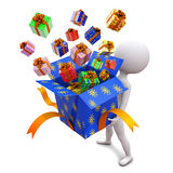 White little man holds box with gifts Royalty Free Stock Photos