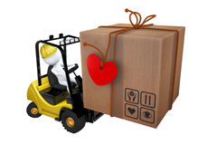 White little man loads a parcel on a loader Royalty Free Stock Photos