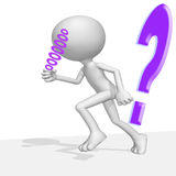 White little man. With violet question mark Stock Photos