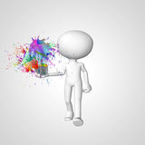 White little man. Water color with light bulb Royalty Free Stock Photography