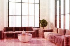 White livging room, gray sofas double Royalty Free Stock Image