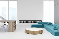 White living room, bar and sofas. White and living room interior with a round table, blue sofa standing near it, tall windows and book shelves. 3d rendering mock Royalty Free Stock Images
