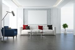 White living room, blue armchair Royalty Free Stock Photo