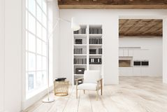 White living room with a bookcase Royalty Free Stock Photo