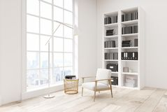 White living room with a bookcase, side view Royalty Free Stock Images