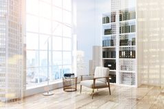 White living room with a bookcase, side view toned Royalty Free Stock Photo