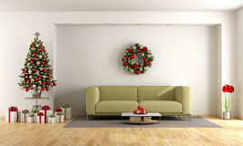 White living room with christmas tree Royalty Free Stock Image