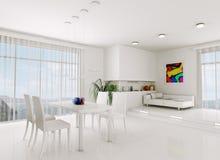 White living room 3d render Stock Image
