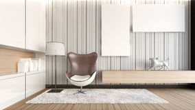 White living room / 3D Rendering Royalty Free Stock Photos