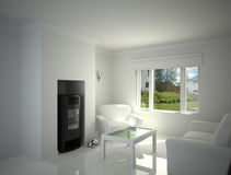 White living-room. Royalty Free Stock Photo